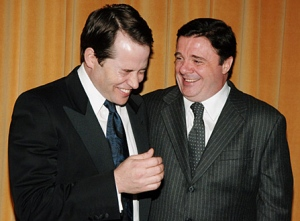 "Matthew  Broderick (left) and Nathan Lane star in the new comedy about producing a Broadway show ""It's Only a Play."""