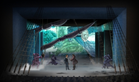 "Set design of a scene from ""Finding Neverland"" at  American Repertory Theater."