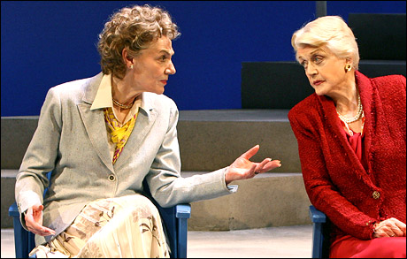 "Image of Marian Seldes (left) and Angela Lansbury star in Terrence McNally's ""Deuce.""/Photo courtesy of Playbill.com."