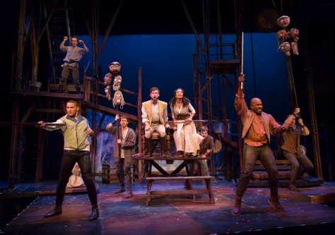 """The Company performing """"The Jousts"""" in """"Camelot"""" at Two River Theater Company."""
