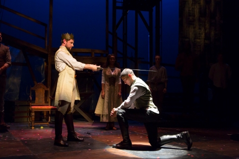 """Oliver Thornton (King Arthur) and Nicholas Rodriguez (Sir Lancelot) in """"Camelot"""" at Two River Theater Company."""