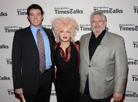 "Image of New York Times Theater Reporter Patrick Healy (from left), Cindi Lauper and Harvey Fierstein at  TimesTalks Presents ""Kinky Boot.""'"