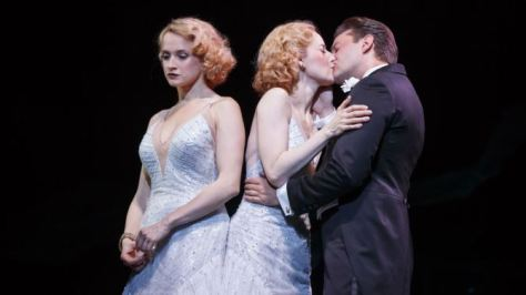 "Image of Erin Davie (left) and Emily Padgett play characters based on the real-life conjoined twins Daisy and Violet Hilton in the Broadway musical ""Side Show."""
