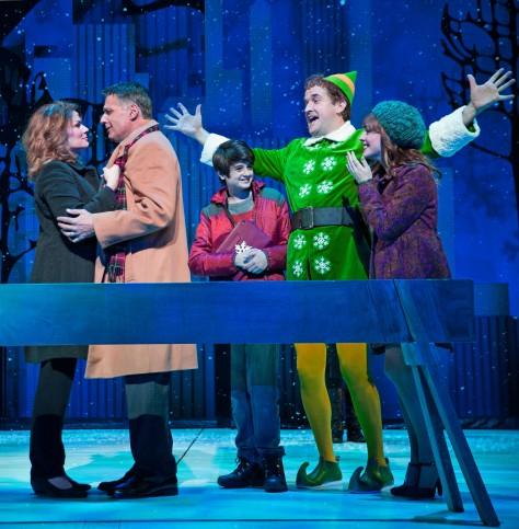 "Image of ""Elf"" cast members, from left, Heidi Blickenstaff, Robert Cuccioli, Jake Faragalli, James Moye and Kate Fahrner."
