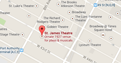 Screen grab of NYC map focused on the St. James Theatre