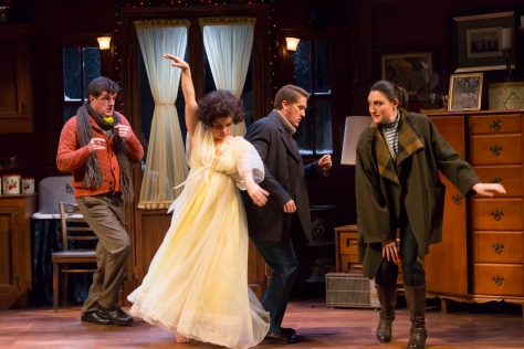 Image, from left, Michael Cumpsty (Ronald), Mary Birdsong (Marion), Scott Drummond  (Geoffrey) and Liz Wisan (Eva) in Absurd Person Singular at Two River Theater.