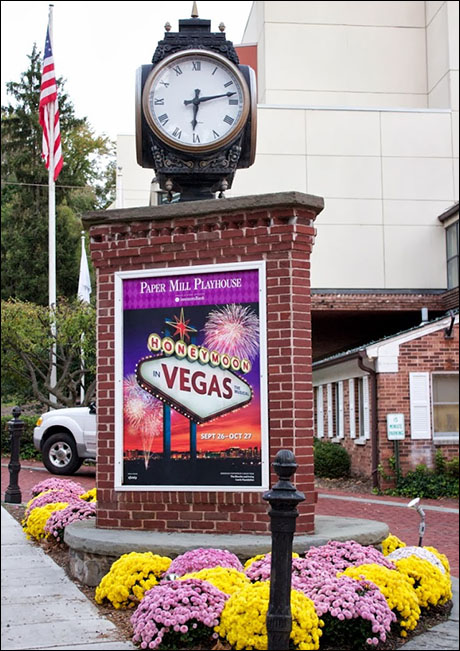 "Image of the marquee for ""Honeymoon in Vegas"" played the Paper Mill Playhouse in Millburn, NJ, before moving to Broadway."