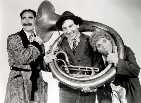 "Marx Brothers publicity still from ""A Day at the Races."""