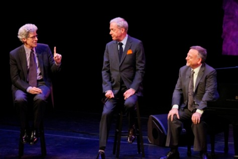 "Image, from left, host Ted Chapin, Marc Shaiman and Scott Wittman in Season Two of ""American Songbook at  NJPAC."" (Photo by  Daniel Cardenas/NJTV.)"