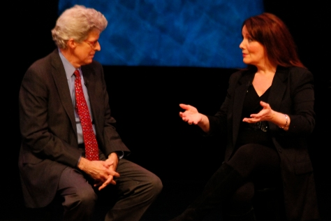 "Image of Maureen McGovern with host Ted Chapin during Q&A in Season Two of ""American Songbook at NJPAC."" (Photo by Daniel Cardenas/NJTV)"