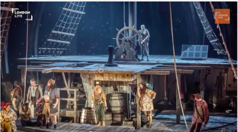 "Image of a scene from the National Theater's current production of ""Treasure Island,"" which is being broadcast live around the world on Jan. 22."