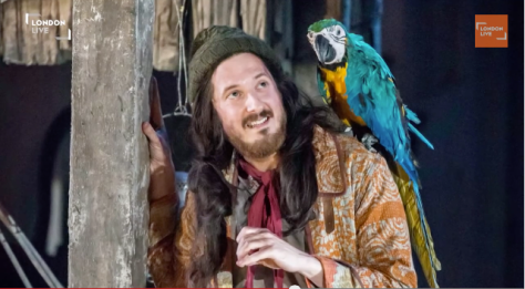 "Image of Arthur Darvill as Long John Silver in the National Theatre production of ""Treasure Island."""