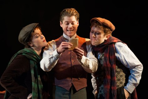"Ken Ludwig's ""Baskerville"" with, from left, Jane Pfitsch, Gregory Wooddell as Sherlock Holmes and Stanley Bahorek opens at  McCarter Theatre in Princeton (Photo by Margot Schulman.)"