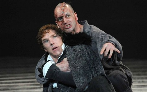 "Benedict Cumberbatch (bottom) and Jonny Lee Miller (both of whom play Sherlock Holmes characters on TV) starred opposite each other in the NTL production of ""Frankenstein."" To make things more fun, they learn both roles  for the production. Here, Cumberbatch as Victor Frankenstein and  Miller as The Creature. (Photo: National Theatre)."