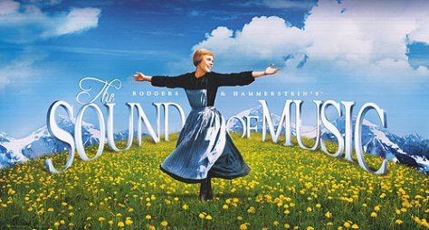 "Iconic ""Sound of Music"" opening scene from the film version of the Rodgers and Hammerstein musical starring Julie Andrews."