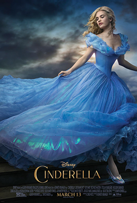 "Official poster for the new film versions of ""Cinderella,"" featuring English actress Lily James."
