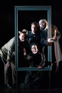"Top, from left, Michael Glenn, Lucas Hall,  Stanley Bahorek and, below, Jane Pfitsch, in Kne Ludwig's ""Baskervilles"" through Marcy 29 at McCarter Theatre in Princeton. (Photo by Margot Shulman)"