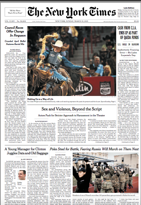 Image of Page 1 of today's New York Times with a theater story about sexual harassment and violence in the offstage theater community.