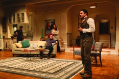 "Zeke (forgropund, played by Brandon J. Dirden) and (from left) Janeece (Roslyn Ruff), Randall (Andrew Hovelson) and Judith (Merritt Jan) in the world premiere of ""Ysonour Blues Ain't Sweet Like Mine"" at Two River Theater, Red Bank. (Photo: Michal Daniel)"