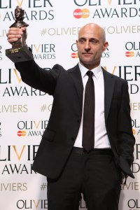 "Image of Mark Strong with his Best Actor Award for ""A View From The Bridge."" (Photo: Pamela Raith)"