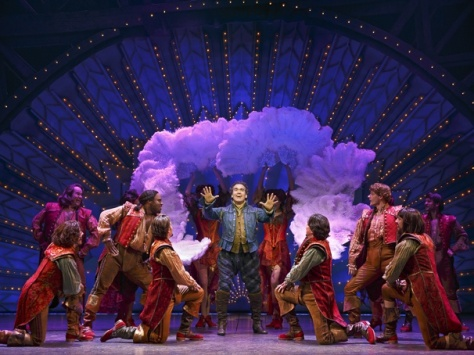 "Image of Brian d'Arcy James as Nick Bottom and the cast of ""Something Rotten!"" nominated for 12 Outer Critics Circle awards for Broadway and off-Broadway shows, 2015. (Photo:"