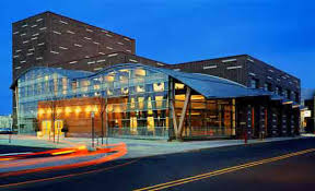Exterior night image of Two River Theater, 21 Bridge Ave., Red Bank, NJ.