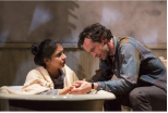 "Rufus (Nathan Darrow) and Peta (Mahira Kakkar) seek clarity in the country in ""Five Mile Lake,"" contemporary play by Rachel Bonds, making its East Coast debut at McCarter Theatre in Princeton through May 31. (PHOTO: T. Charles Erikson)"