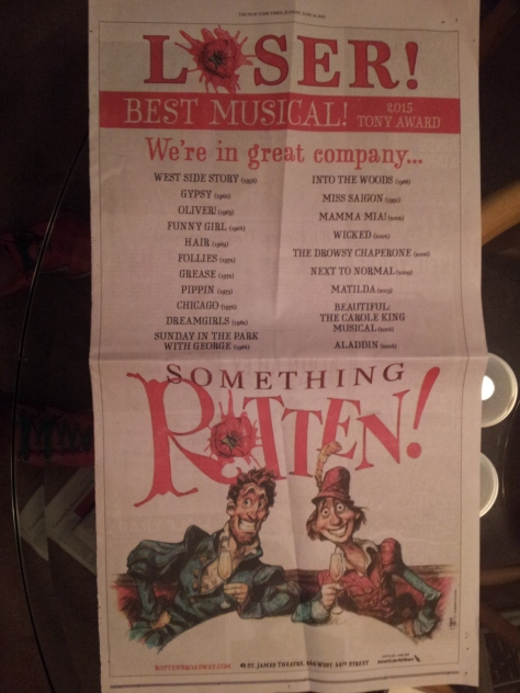"Image of the full page NYTimes ad for ""Something Rotten."""