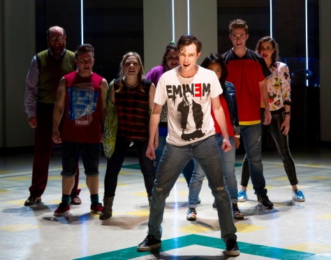 "Will Connolly (center) stars as Jeremy Heere in the world premiere of ""Be More Chill"" at Two River Theater in Red Bank, NJ. The company includes, from left: Paul Whitty, Gerard Canonico, Lauren Marcus, Katie Ladner, Stephanie Hsu, Jake Boyd and Katlyn Carlson. (PHOTO: T Charles Erickson Photography)"