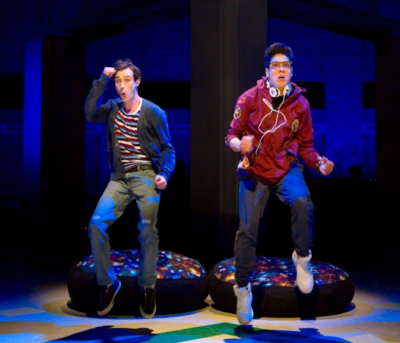 """Will Connolly (Jeremy Heere) and George Salazar (Michael) in the world premiere of """"Be More Chill"""" at Two River Theate, Red Bank, NJ. (PHOTO: T. Charles Erickson)"""