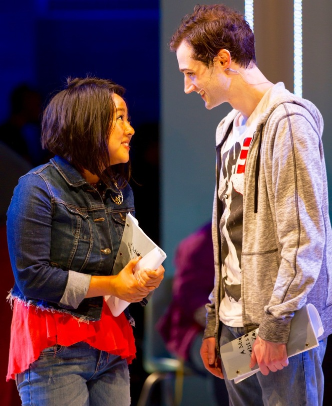 "Stephanie Hsu (Christine) and Will Connolly (Jeremy Heere) in the world premiere of ""Be More Chill"" at Two River.(PHOTO: T. Charles Erickson)"