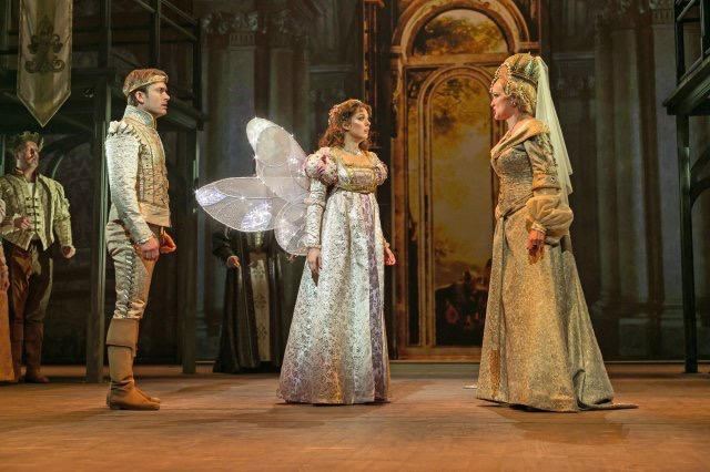 """From left, James Snyder as Prince Henry, Margo Seibert as Danielle and Christine Ebersole as Rodmilla in """"Ever After"""" at Paper Mill Playhouuse. (Photo by Jerry Dalia)"""