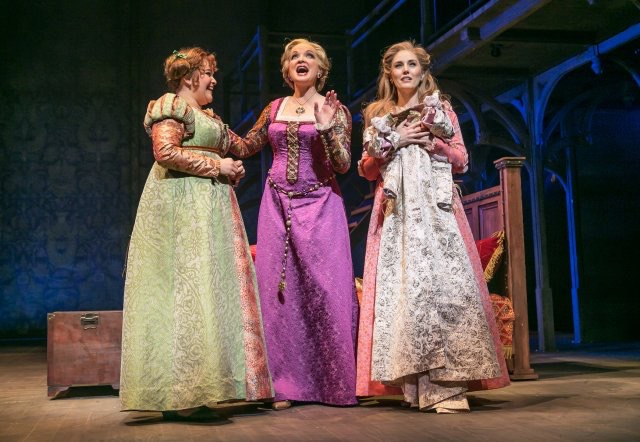 """From left, Annie Funke (as Jacqueline), Christine Ebersole (as Rodmilla) and Mara Davi (as Marguerite) in """"Ever After"""" at Paper Mill Playhouse. (Photo by Jerry Dalia)"""
