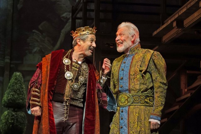 """Charles Shaughnessy as King Francis (left) and Tony Sheldon as Leonardo da Vinci in """"Ever After"""" at Paper Mill Playhouse. (Photo by Jerry Dalia)"""