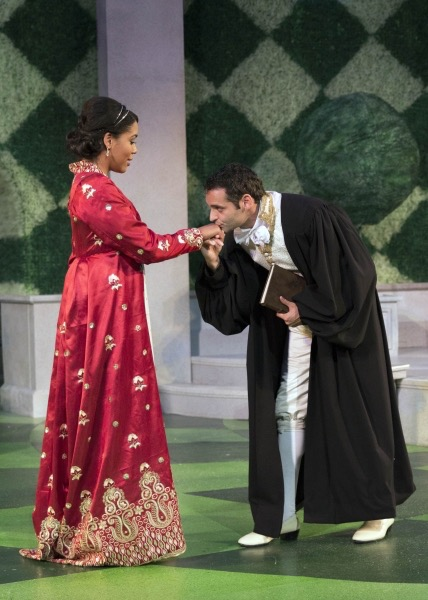 The King of Navarre (Jonathan Raviv) and the Princess of France (Jesmille Darbouze) are smitten from their first meeting. (Photo:  Avery Brunkus)