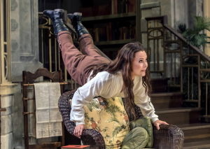 "Caralyn Kozlowski 's character Lina Szczepanowska delivers the play's speech about the modern woman in ""Misalliance,"" through Aug. 30 at the Shakespeare Theatre of New Jersey. (PHOTO: Jerry Dalia)"