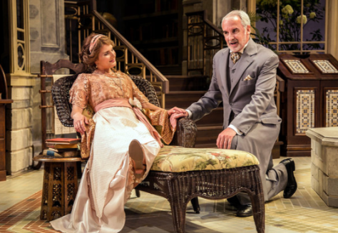 "Katie Fabel plays Hypatia, a ""modern woman,"" with Jonathan Gillard Daly as Lord Summerhays, just one of her suitors, in the Shakespeare Theatre of New Jersey's production of George Bernard Shaw's ""Misalliance."" (PHOTO: Jerry Dalia)"