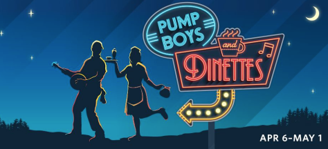 "Screen grab of logo for ""Pump Boys and Dinettes"" musical on the schedule for the 2915-2016 season at Paper Mill Playhouse."