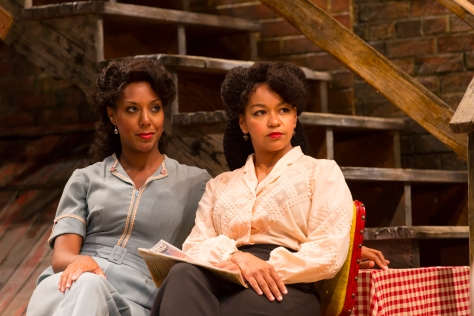 "Christina Acosta Robinson as Vera (left) and Crystal A. Dickinson as Louise in August Wilson's ""Seven Guitars"" at Two River Theater in Red Bank.  PHOTO: T Charles Erickson"