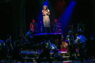 "Laura Osnes and the company of ""The Bandstand"" in the Paper Mill Playhouse production of ""The Bandstand."" (PHOTO: Jerry Dalia)"