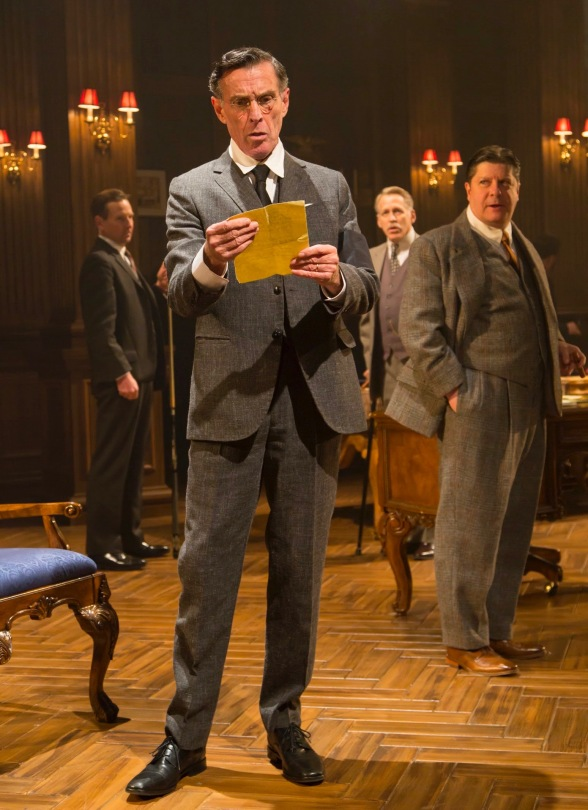 John Glover as Woodrow Wilson (front) with (L to R) Stephen Barker Turner (Dr. Cary Grayson), Stephen Spinella (Col. Edward House) and Michael McGrath (Secretary Joe Tumulty). Photo by T. Charles Erickson