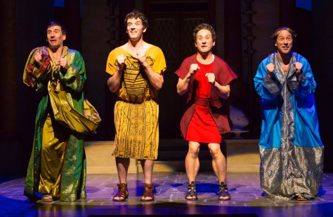 "From left, David Josefsberg (Marcus Lycus), Michael Urie (Hysterium), Christopher Fitzgerald (Pseudolus), and Kevin Isola (Senex) in ""A Funny Thing Happened on the Way to the Forum"" at Two River Theater. (PHOTO: T. Charles Ericskson)"