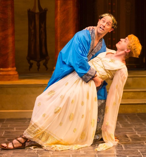 """Kevin Isola (Senex) and David Turner (Philia) in """"A Funny Thing Happened on the Way to the Forum"""" at Two River Theater. (PHOTO: T. Charles Ericskson)"""