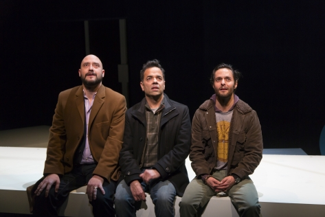 Mexican playwright Barbara Colio has written a work translated by Maria Alexandria Beech that is a universal story about forgiveness, love, and loss as three brothers accept an invitation from their estranged father watch him create his greatest tightrope walking stunt ever. It features (from left) Luis Moreno as Presley, Varín Ayala as Paul, and Gabriel Gutiérrez as Prince. (PHOTO) T Charles Erickson