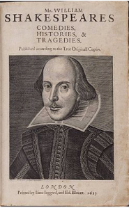 Martin Droeshout's created the cover for Mr. William Shakespeares Comedies, Histories, & Tragedies is the 1623 published collection of William Shakespeare's plays. Modern scholars commonly refer to it as the First Folio and has 630 pages. Only 233 copies are known to exist.