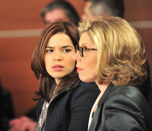 "Julianna Margulies (left) and Christine Baranski in a scene from ""The Good Wife."""