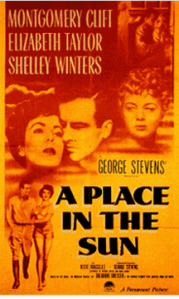 "Poster image of ""A Place in the Sun."""