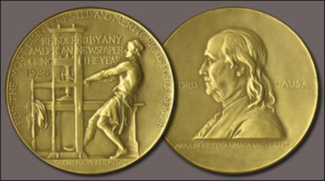 Image of the Pulitzer award medal.