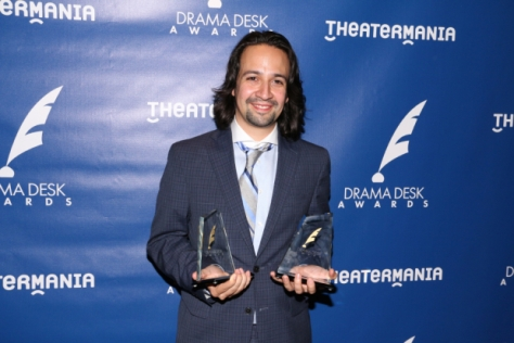 Lin-Manuel Miranda with his Drama League awards.