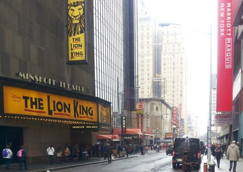 Looking west on 45th Street, the heart of the theater district in Manhattan.